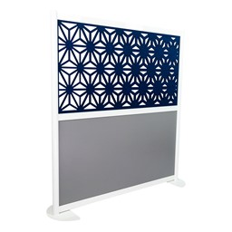 """Modern Privacy Panel with Kaleidoscope Top Pattern Infill Panels (4' 4"""" W x 4' 5"""" H) - Midnight"""