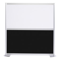 """Modern Privacy Panel with Colored and Translucent Infill Panels (4' 4"""" W x 4' 5"""" H) - Black w/ White Panel"""