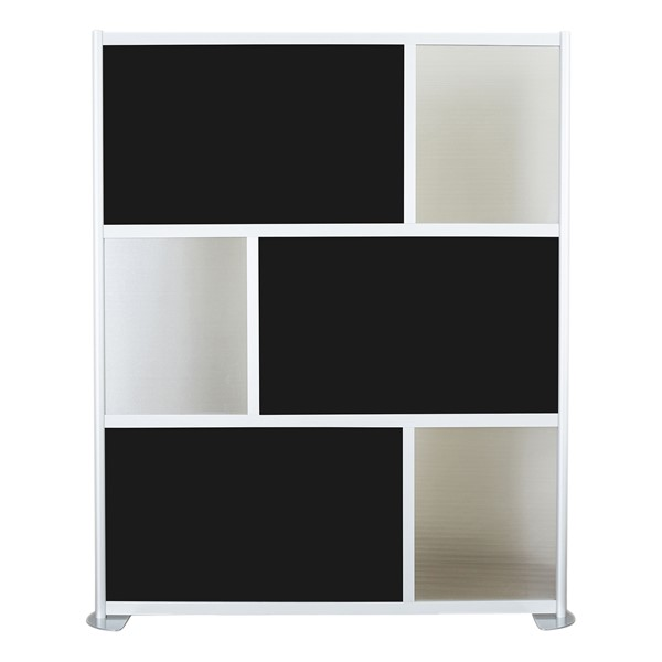 """Modern Privacy Panel w/ Colored & Translucent Infill Panels (6' 4"""" W x 6' 6"""" H) - Black w/ Clear Panels"""