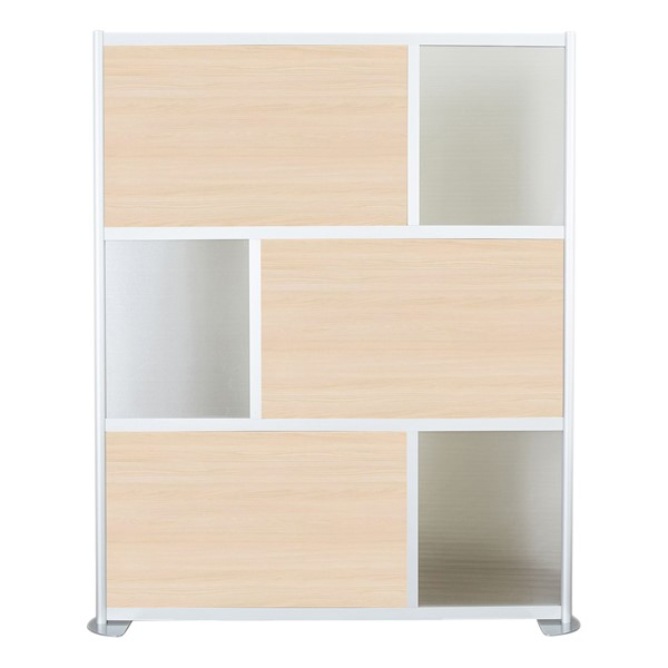 """Modern Privacy Panel w/ Colored & Translucent Infill Panels (6' 4"""" W x 6' 6"""" H) - Elm w/ Clear Panels"""