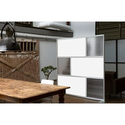 Modern Privacy Panel w/ Colored & Translucent Infill Panels - White w/ Clear Panels
