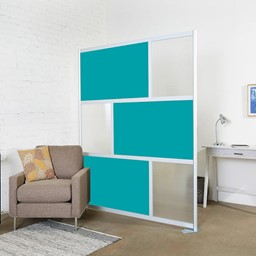 Modern Privacy Panel w/ Colored & Translucent Infill Panels - Teal w/ Clear Panels