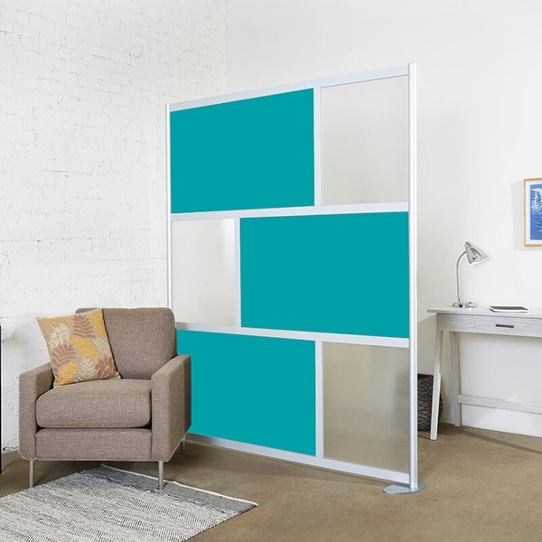 """Modern Privacy Panel w/ Colored & Translucent Infill Panels (6' 4"""" W x 6' 6"""" H)"""