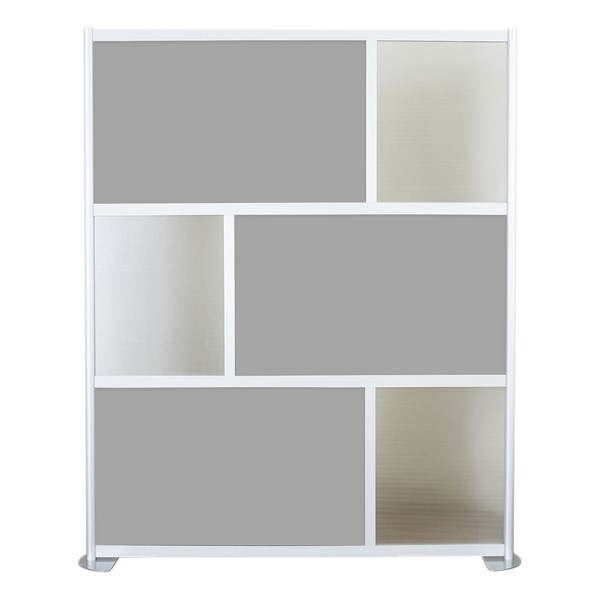 """Modern Privacy Panel w/ Colored & Translucent Infill Panels (6' 4"""" W x 6' 6"""" H) - Gray w/ Clear Panels"""