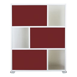 """Modern Privacy Panel w/ Colored & Translucent Infill Panels (6' 4"""" W x 6' 6"""" H) - Maroon w/ Clear Panels"""