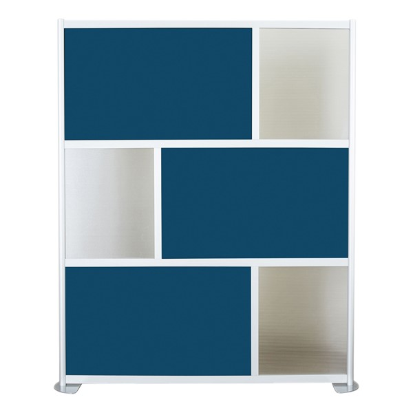 """Modern Privacy Panel w/ Colored & Translucent Infill Panels (6' 4"""" W x 6' 6"""" H) - Navy Blue w/ Clear Panels"""