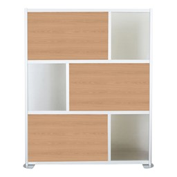 """Modern Privacy Panel w/ Colored & Translucent Infill Panels (6' 4"""" W x 6' 6"""" H) - Oak w/ Clear Panels"""