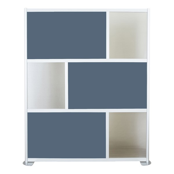 """Modern Privacy Panel w/ Colored & Translucent Infill Panels (6' 4"""" W x 6' 6"""" H) - Slate Blue w/ Clear Panels"""