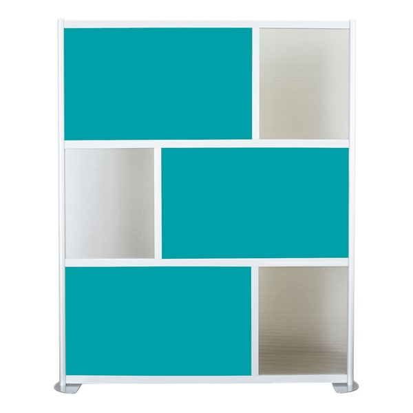 """Modern Privacy Panel w/ Colored & Translucent Infill Panels (6' 4"""" W x 6' 6"""" H) - Teal w/ Clear Panels"""