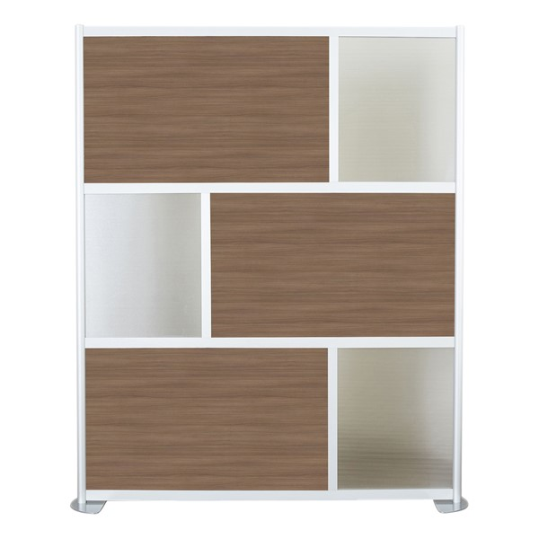 """Modern Privacy Panel w/ Colored & Translucent Infill Panels (6' 4"""" W x 6' 6"""" H) - Walnut w/ Clear Panels"""
