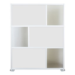 """Modern Privacy Panel w/ Colored & Translucent Infill Panels (6' 4"""" W x 6' 6"""" H) - White w/ Clear Panels"""