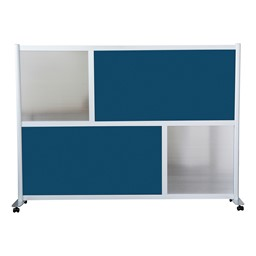 """Modern Privacy Panel with Colored and Translucent Infill Panels (6' 4"""" W x 4' 5"""" H) - Navy Blue w/ Clear Panels"""