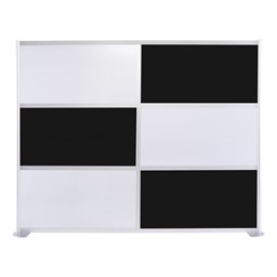 """Modern Privacy Panel w/ Colored & Translucent Infill Panels (8' 4"""" W x 6' 6"""" H) - Black w/ White Panels"""