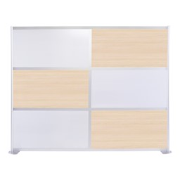 """Modern Privacy Panel w/ Colored & Translucent Infill Panels (8' 4"""" W x 6' 6"""" H) - Elm w/ White Panels"""