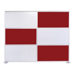 """Modern Privacy Panel w/ Colored & Translucent Infill Panels (8' 4"""" W x 6' 6"""" H) - Maroon w/ White Panels"""