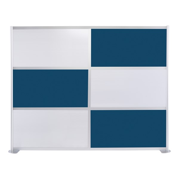 """Modern Privacy Panel w/ Colored & Translucent Infill Panels (8' 4"""" W x 6' 6"""" H) - Navy Blue w/ White Panels"""