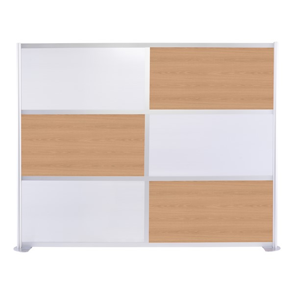 """Modern Privacy Panel w/ Colored & Translucent Infill Panels (8' 4"""" W x 6' 6"""" H) - Oak w/ White Panels"""