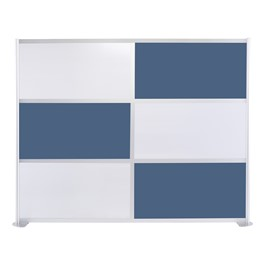 """Modern Privacy Panel w/ Colored & Translucent Infill Panels (8\' 4\"""" W x 6\' 6\"""" H) - Slate Blue w/ White Panels"""