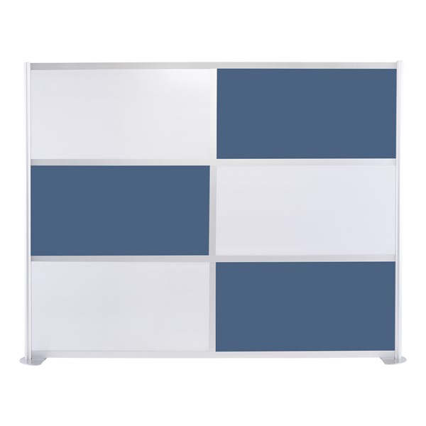 """Modern Privacy Panel w/ Colored & Translucent Infill Panels (8' 4"""" W x 6' 6"""" H) - Slate Blue w/ White Panels"""
