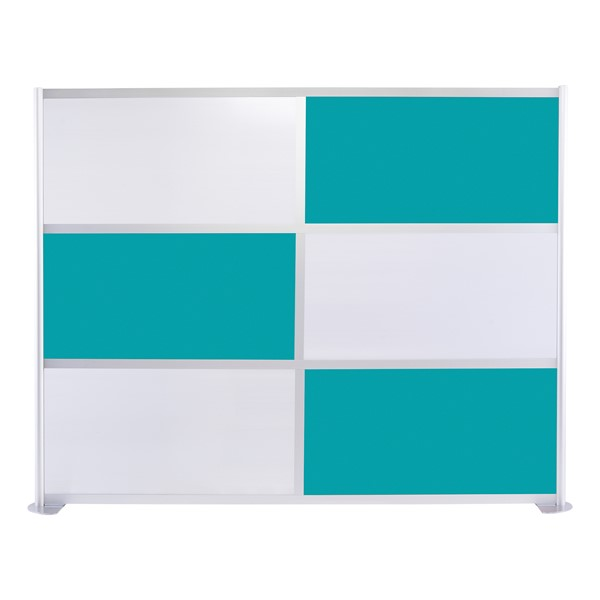 """Modern Privacy Panel w/ Colored & Translucent Infill Panels (8' 4"""" W x 6' 6"""" H) - Teal w/ White Panels"""