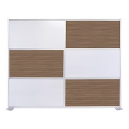 """Modern Privacy Panel with Colored and Translucent Infill Panels (8' 4"""" W x 6' 6"""" H) - Walnut w/ White Panels"""