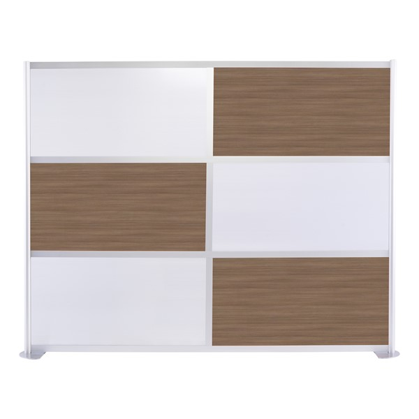 """Modern Privacy Panel w/ Colored & Translucent Infill Panels (8' 4"""" W x 6' 6"""" H) - Walnut w/ White Panels"""