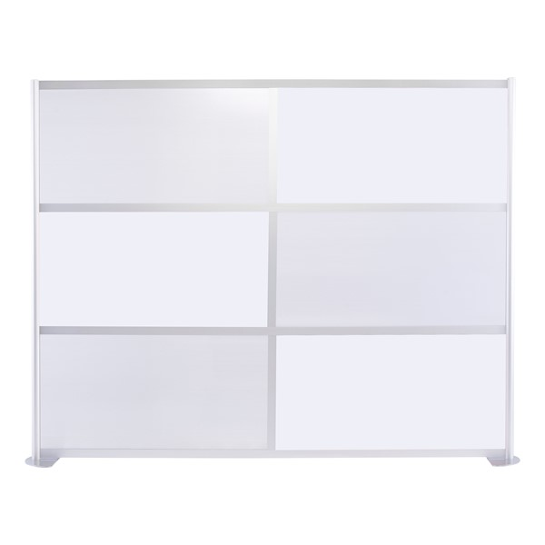 """Modern Privacy Panel w/ Colored & Translucent Infill Panels (8' 4"""" W x 6' 6"""" H) - White w/ Clear Panels"""
