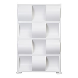 """Modern Privacy Wave Panel w/ White Infill Panels & White Frame (4\' 4\"""" W x 6\' 6\"""" H)"""