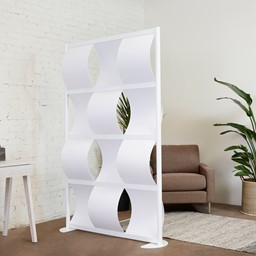 """Modern Privacy Wave Panel w/ White Infill Panels & White Frame (4' 4"""" W x 6' 6"""" H)"""