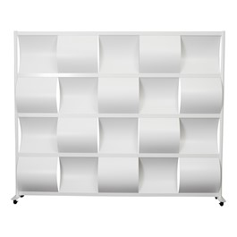 """Modern Privacy Wave Panel w/ White Infill Panels & White Frame (8\' 4\"""" W x 6\' 6\"""" H)"""