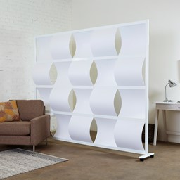 """Modern Privacy Wave Panel w/ White Infill Panels & White Frame (8' 4"""" W x 6' 6"""" H)"""