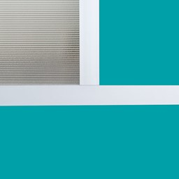 """Modern Privacy Panel w/ Colored & Translucent Infill Panels (6' 4"""" W x 6' 6"""" H) - Close Up"""