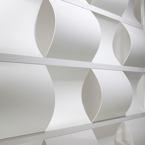 """Modern Privacy Wave Panel w/ White Infill Panels & White Frame (4' 4"""" W x 6' 6"""" H) - Close Up"""