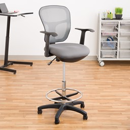 Adjustable-Height Mesh Drafting Stool w/ Arms