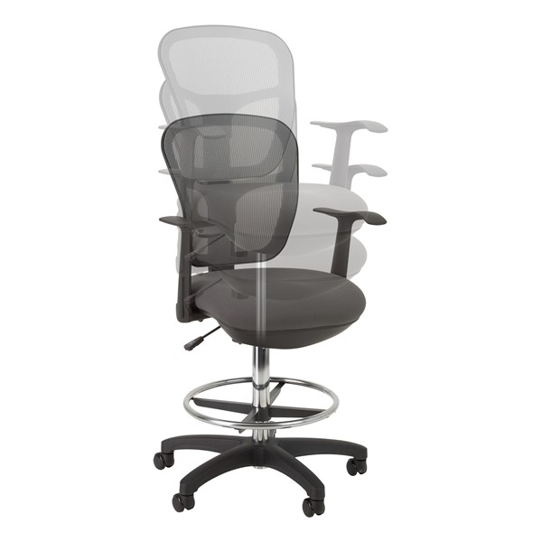 Adjustable-Height Mesh Drafting Stool w/ Arms - Adjustability