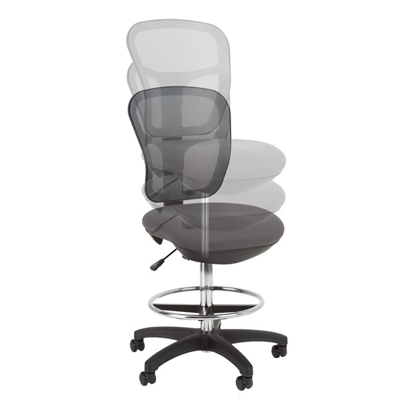 Adjustable-Height Mesh Drafting Stool w/o Arms - Adjustability