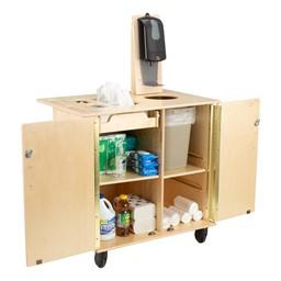 Premium Sanitation Station w/ HPL Top, Dispenser Mount & Hand Sanitizer Dispenser