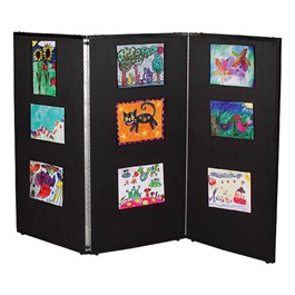 "3\' 7"" H Folding Display Partition (5\' L) - True black"