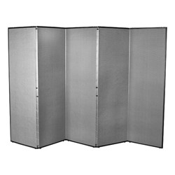 """5' 7"""" H Folding Display Partition (8' 4"""" L) - Smoky gray"""