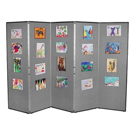 "5\' 7"" H Folding Display Partition (8\' 4\"" L) - Smoky gray"