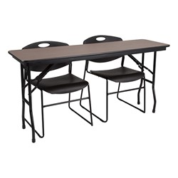 Rectangle High-Pressure Laminate Top Folding Training Table w/ Heavy-Duty Plastic Stacking Chairs