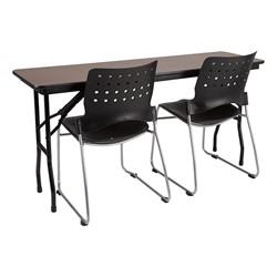 Rectangle High-Pressure Laminate Top Folding Training Table w/ Ballard Plastic Stack Chairs
