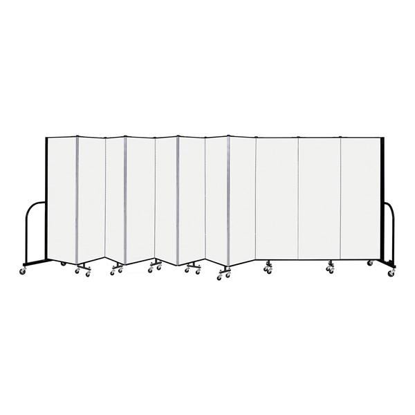 """6' H Vinyl Freestanding Portable Partition - 11 Panels (20' 5"""" L) - Ice"""