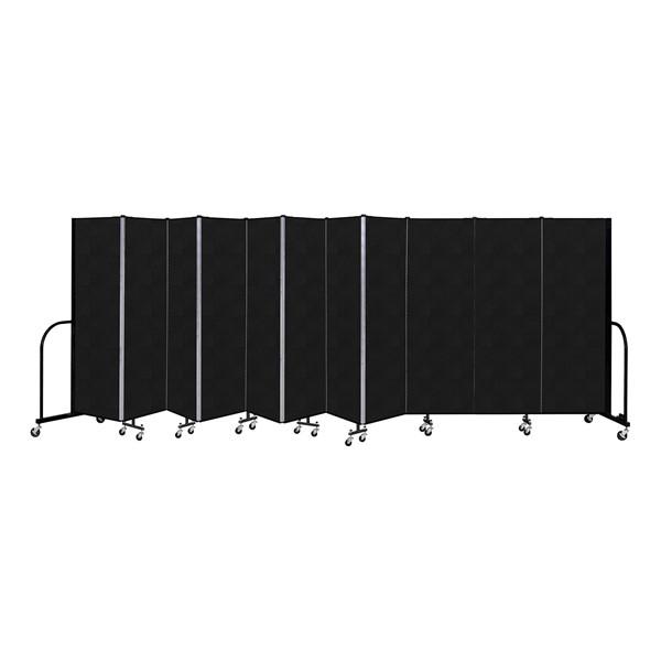 """6' H Vinyl Freestanding Portable Partition - 11 Panels (20' 5"""" L) - Coal"""