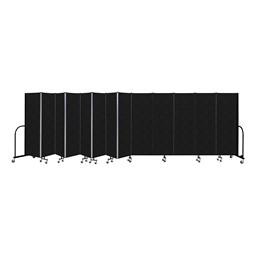 """6' H Vinyl Freestanding Portable Partition - 13 Panels (24' 1"""" L) - Coal"""