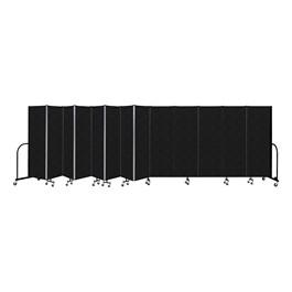 """6\' H Vinyl Freestanding Portable Partition - 13 Panels (24\' 1\"""" L) - Coal"""