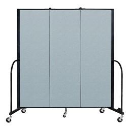 """6' H Vinyl Freestanding Portable Partition - 3 Panels (5' 9"""" L) - Blue Tide"""