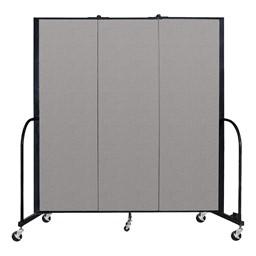 """6' H Vinyl Freestanding Portable Partition - 3 Panels (5' 9"""" L) - Granite"""