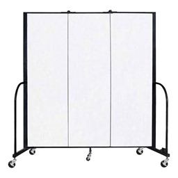 """6' H Vinyl Freestanding Portable Partition - 3 Panels (5' 9"""" L) - Ice"""