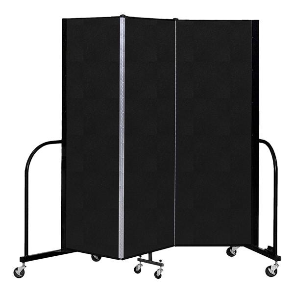 """6' H Vinyl Freestanding Portable Partition - 3 Panels (5' 9"""" L) - Coal"""